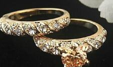 Womans Solid 18K Gold Filled Crystal DiamondsWedding  Engagement  Ring sz  6 7 8
