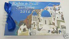 PERSONALISED SANTORINI MEMORY/SCRAPBOOK/PHOTO ALBUM FIRST HOLIDAY TRAVEL BOOK