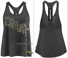 Official ZUMBA Fitness Foil Me Once Metallics Loose Racerback FEEL THE MUSIC S M