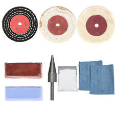 "9Pc 3""/4""/5""/6"" X 1/2"" Aluminium Polishing Mop Polishing Wheel Polishing Pad Kit"