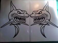 (2) Shark boat Decals large great white fish graphics big sticker v4