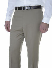 Tommy Hilfiger Trim Fit Solid Khaki Tan Flat Front Worsted Wool Dress Pants
