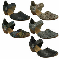 43711 LADIES RIEKER VELCRO STRAP LEATHER BLOCK HEEL MARY JANE CASUAL SHOES