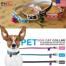 PU Leather Dog Cat Pet Collar Puppy Necklace Safety Buckle with Bell