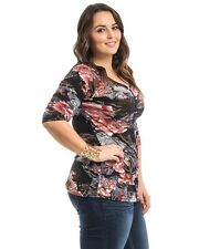 Knit Top Size 1XL-3XL Women's TAKONI Floral 3/4 Sleeves Casual 3 Button Y-Neck