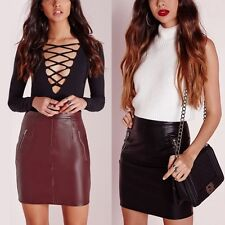 Fashion Lady PU Leather High Waist Pencil Dress Bodycon Wrap Slim Mini Skirt H11