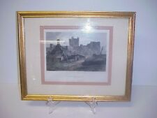 Engraving Picture Bamborough Castle Northumberland England Greig