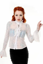 Banned Steampunk Key Gothic Sheer Floral Lace Shirt Blouse Plus Size OFF WHITE