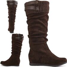knitted Knee High Mid Calf Round Toe Slouch Comfort Casual Winter Boots Flat B19