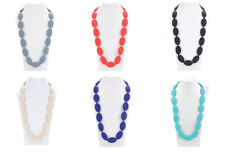 Silicone Teething Necklace for Mum Baby Chew Jewellery Sensory (Large Ovals)
