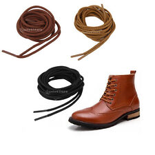 Pair 3mm Round Wax Shoe Laces Shoelaces Waxed Bootlaces for Leather Boot Brogues