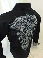 Mens Victorious Cross Tribal Stones Button Down Shirt Black Roar With Style 447