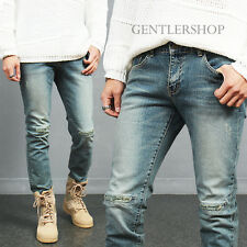 Men's Vintage Stitched Knee Ripped Distressed Faded Blue Jeans P102, GENTLERSHOP
