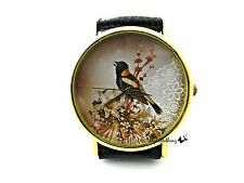 Bird Lace Watch Handmade Woman Leather Wrist Watch With Genuine Leather #126