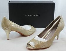 TAHARI Women's Marie Peep Toe Pump - Toast/White Gold - Multi Sz NIB - MSRP $79