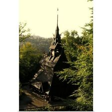 Poster Print Wall Art entitled Norway, Bergen, Fantoft Stave Church in morning