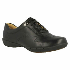 UN HALSIE LADIES CLARKS BLACK LEATHER UNSTRUCTURED CASUAL LACE UP SPORTY SHOES