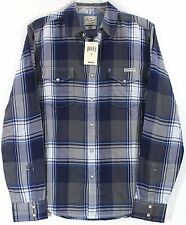 NWT Lucky Brand Blue/Gray Plaid Pearl Snap Long Sleeve Western Shirt Choose Size