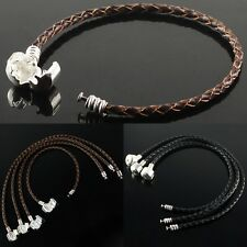 Black Coffee Braided Leather Findings Charm Bead European Bracelet Fit Beads New