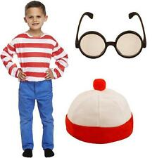 Red and white striped top, bobble hat and round glasses costume set Wally Waldo