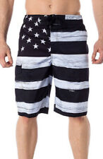 USA American Flag Old Glory BLACK Mens Board Shorts Swim Trunks Patriotic S-XXL