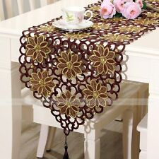 yazi Brown Embroidered Flower Cutwork Dining Kitchen Table Runner Cloth Placemat