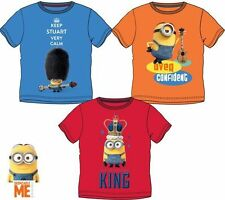 NEW BOYS LICENSED DESPICABLE ME MINIONS SUMMER T-SHIRT, SHORT SLEEVE, CREW NECK