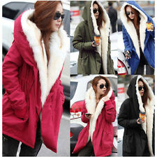 Women Fashion Faux Fur Jacket Warm Winter Parka Coat Long Outerwear S M L XL XXL