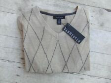 Mens Van Heusen V-Neck Argyle Sweater Vest New Msrp $50.00 Size L