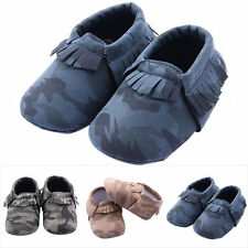 0-12M Baby Girls Boys Camouflage Crib Shoes Toddler Tassel Chic Slippers Shoes