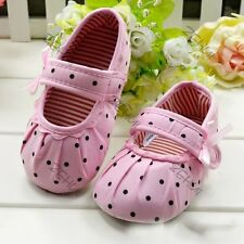 Trendy 1 Pair Baby Girl Kids Pink Polka Dot Soft Sole Crib Shoes Prewalker Shoes