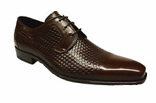 NIB Mens Mezlan 16224 Woven Leather Cap Toe Lace Up Dress Shoe in Brown