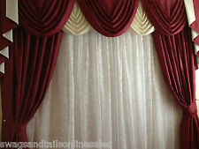 """RED SWAGS AND TAILS SETS + CURTAINS, FITS 61""""-100""""widths +curtains up to 89""""drop"""