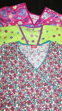Womens Scrubs Scrub top choice XS S pink green floral or hearts