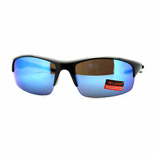 Xloop Mens Sunglasses Sports Fashion Half Rim Wrap Mirror Lens