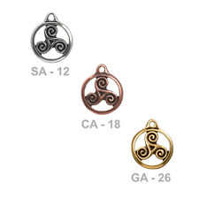TierraCast 19mm Triskele Charm - plated pewter - triskelion triple spiral charm