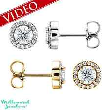 14K WHITE OR YELLOW GOLD 1.25 CTW VS2-SI1 G-H DIAMOND HALO STUD EARRINGS