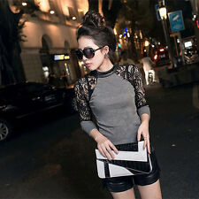 Trendy Women T-Shirt Lady Casual Lace Sleeve Tops Round Neck Shirt Blouse S-XXL