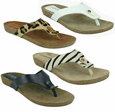 F10500 LADIES FLAT TOE POST PRINTED SLIP ON SUMMER SANDALS LEATHER COLLECTION