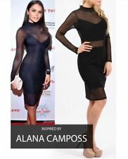NEW WOMENS LADIES HIGH NECK LONG SLEEVE MESH JERSEY PANELLED BODYCON MIDI DRESS