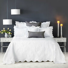 Bianca SHAYLA WHITE Bedspread Set Coverlet Single King Single Double Queen King