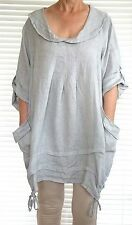 Gorgeous Italian linen lagenlook Artist style top with quirky drawstring deta...