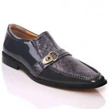 UNZE MENS  LEATHER 'NITIN' SLIPONS BUCKLED FORMAL DRESS SHOES SIZES 5-13UK GREY