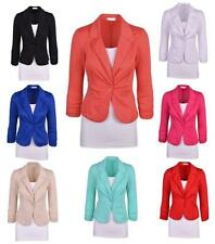 New Womens Candy Colors Blazer Jacket Suit Work Casual Basic Long Sleeve Button