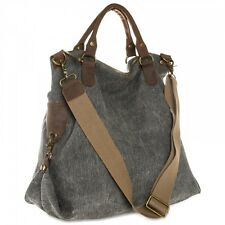 CASPAR Ladies Vintage Bag Leather with stylischem Canvas Mix large new
