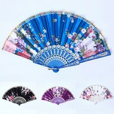 Chinese Japanese Retro Folding Silk Pocket Flower Hand Fan Wedding Dance Party