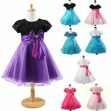Kids Graceful Tulle Bowknot Sequins Dresses for Pageant Wedding Party Formal