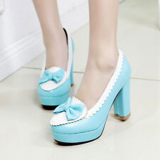 Lolita Womans Bows Sweet Girl Thick HIgh Heels Pumps Mary Jane slip-on Shoes