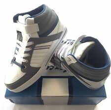 Mens White/Grey & Black/Green Hi-Top Trainers Lace Up  Velcro Strap 7 8 9 10 11