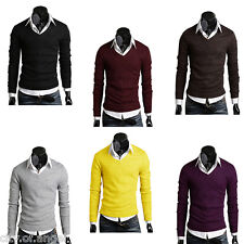 Fashion Men's Casual Sweater Slim Fit Solid Long Sleeve V-Neck Knitwear Knit Top